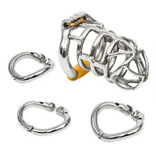 S064 Handmade Stainless Steel Male Chastity Cage Device- Comes with 3 Rings!