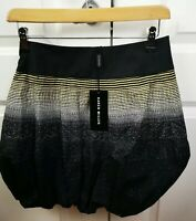 WOMENS KAREN MILLEN BLACK WHITE GREEN PATTERNED PUFFY SHORT BALLOON SKIRT UK 8