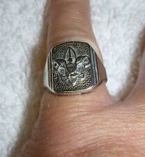 VINTAGE BSA BOY SCOUTS STERLING SILVER RING SIZE 6 YOUNG MAN JEWELRY FRATERNAL