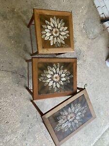 TOFTEN Danish Tiled Nest of 3 Tables 1970s sunflowers design