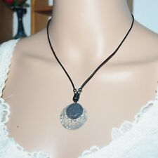 Silpada N1710 Sterling Silver 2 Oxidized Hammered Disks Pendant Leather Necklace
