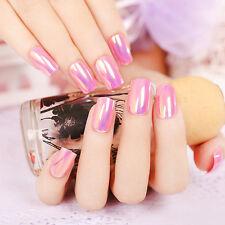 24ps Long Nail Art Tips Pink Mirror Reflective Full Cover False Nails Acrylic