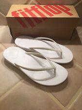 FITFLOP Sz 8 Urban White IQuishion Ergonomic Thongs Flip Flops Fit Sandals NIB