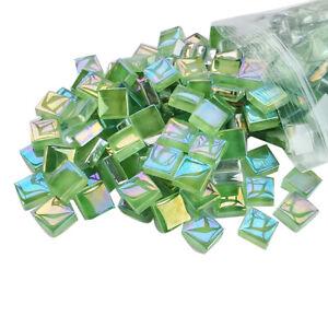 100X DIY Iridescent Square Glass Mosaic Tiles Art Crafts Handmade Colorful