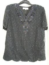 Pretty black beaded evening top scallop edged size10 BNWOT