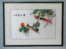 Seidenstickerei hinter Glas gerahmt Vögel Japan China um ca. 1950
