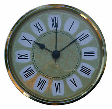 Insertion Clock 85mm Quartz with ornate gold Roman dial and brass bezel