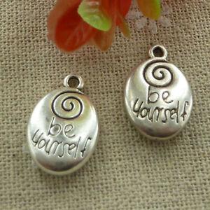 Free Ship 50 pcs tibetan silver ellipse be yourself charms 20X14mm L-1196