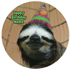 Sloth Party Hat Edible Image personalised icing cake topper decoration round
