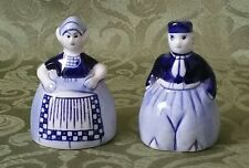 VINTAGE DELFT BLUE SALT AND PEPPER SHAKERS HAND PAINTED w/ STOPPERS