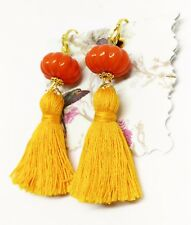 Handmade Boho Cute Orange Tassel Clip On Earrings Orange Pumpkin Bead Earrings