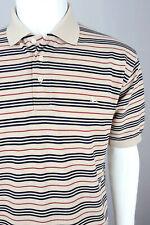 BURBERRY London Men Short Sleeve Polo Shirt Pique Jersey Stripe Camel Beige L XL