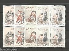 NVPH 1275-78 POSTFRIS IN BLOKKEN VAN 4 KINDERZEGELS 1982 CAT.WRD. 14,40 EURO