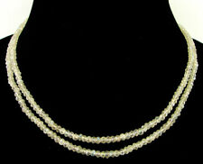 "100 Ct Natural White Crystal Quartz Rondelle Beads Necklace 16"" Double Line-B175"