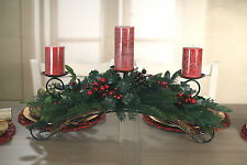 Christmas Candle Holder Table Centre Decor Red Berry Xmas Decoration 3 Candle