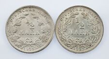 Lot of 2 German 1/2 Mark Coins (1915-A and 1915-F) AU - Uncirculated KM #17