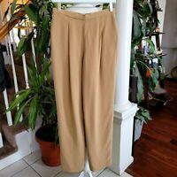 Vintage Dana Buchman 100% Silk Trouser Pants Camel Color Vintage Size 8