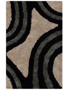 Hand-tufted Geometric Plush Black/Silver Modern 5x8 Shaggy Oriental Area Rug