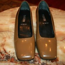 MASSIMO   CLASSIC HEEL SHOES BROWN  LEATHER SOLID SIZE 8 M
