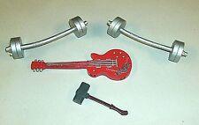 Lot WWE Wrestling Accessories Bar Bells Bell Weights Guitar Sledge Hammer