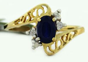 GENUINE 0.68 Cts BLUE SAPPHIRE & DIAMONDS RING 10K GOLD *** Free Certificate ***