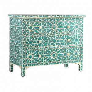 Handmade Bone Inlay Blue Star Design Sideboard Chest Drawer Cabinet