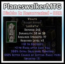 D2 D2R Diablo II Resurrected (PC) ✰ Wealth Armor ✰ 100% Magic Find ✰ 300% Gold