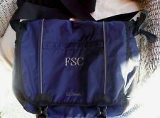 LL Bean Nylon Commuter Messenger Briefcase LaptopBag Blue/Blk FSC monogram EUC!