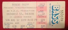 ROBERT FRIPP-Jim Carrey-Ticket Stub+Newspaper Clippings-Aug 12, 1979-Toronto