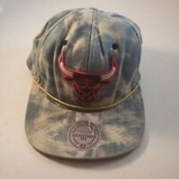 Chicago Bulls Snapback Adjustable Mens Hat Acid Wash Denim Mitchell And Ness