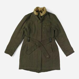 UGG Australia Women's Wool Coat Winter Jacket Padded Belted Lambswool Khaki XL