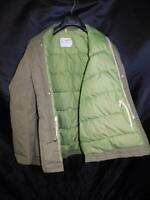 Vintage Comfy M L Mens Olive Green Goose Down Parka Winter Coat Zip Snap USA
