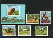 Fujeira 3170.4km 582-586a,bl.33a CHEVAUX lot de 5 timbres & S/S perf. MNH