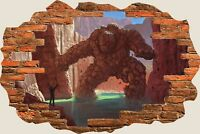 3D Hole in Wall Fantasy Stone Man Creature View Wall Stickers Decal Mural 993