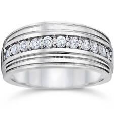 1/2 Carat Mens Diamond Wedding Ring 10K White Gold
