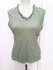 NEXT Ladies Size 16 Khaki Green Crinkle Sleeveless Tunic Top Holiday Fashion