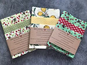 Beeswax Wraps Choice Of Fabrics UK Beeswax  Kitchen Pack OF 3 - Lg Med & Sm