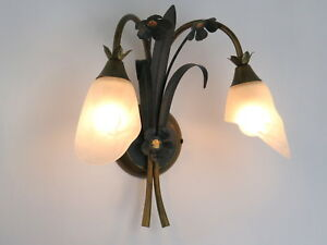 applique classico rustico country ferro battuto floreale verde oro 2 luci camera