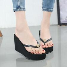 Plataforma con taco alto Para Mujer Flip Flops Zapatillas Zapatos Sandalias De Playa De Verano