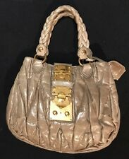 dce7bb80ee8 MIU MIU - Khaki Matelassé Ruffled Leather Gold Coffer Lock Two Way Bag Purse