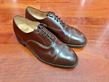 MINT Sanders Military💥MADE IN UK💥Brown Oxford💥Cap toe Leather shoes UK 11