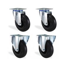 Lot roulettes pivotante & fixe caoutchouc noir 125mm charge 300kg