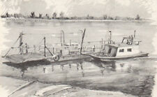 USA Ste Genevieve  Ferry Boat on the Mississippi river   Artist Postcard roscoe