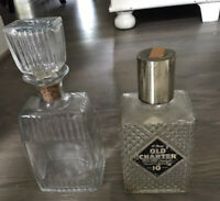 2 Vintage Glass Decanters From Alcohol Bottles