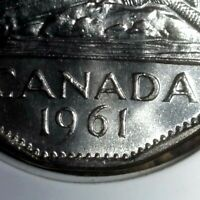 """Canada 1961 Double """"61"""" Date Variety Five Cents Gem BU!!"""