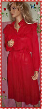 9 10 RED Satin Polyester Stripe VINTAGE Ruffle Fit Waist Long Slv Flare Dress