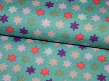 Baumwollstoff Baumwolle Stoff Patchwork Popeline Sterne Smaragd türkis 50/140