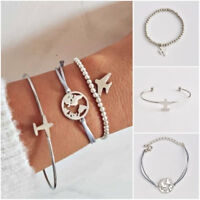 3Pcs/Set Airplane Hollow Map Beads Chain Open Cuff Bracelet For Women Jewelry