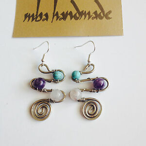 Natural Stone Amethyst Rose Quartz Turquoise German Silver Wire Wrapped Earrings