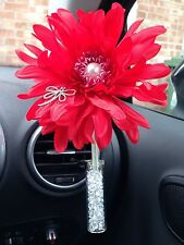 RED SHAGGY GERBERA & DRAGONFLY VW FLOWER YANKEE CANDLE SCENT CAR VENT VASE